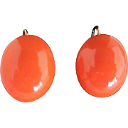 Large Coral Button Earrings