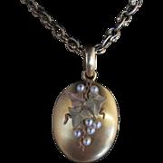 18k Three-Tone Gold Locket with Pearls