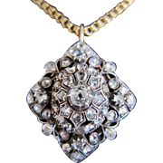 18k Gold, Sterling Silver and Rose Cut Diamond Pendant