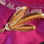 SALE Retro Rose Gold and Diamond Leaf Brooch