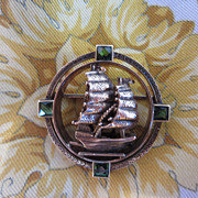 SALE 14k & Green Tourmaline Sailing Ship Brooch