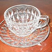 SALE Jeannette Glass Co. Depression  Windsor Diamond Cup & Saucer Set