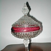 SOLD Indiana Glass Diamond Point Ruby  Candy Dish with Lid