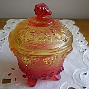 SOLD Mid Century Amber Carnival Glass Candy Jar