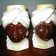 """Blackmoor  Princess"" Identical Pair of  Head Vases by Royal Copley"