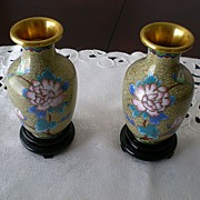 Vintage Chinese Cloisonne Vases on Wooden Stands