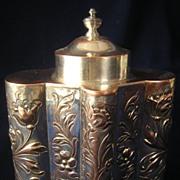 Gorgeous Silver on Copper Floral Repousse Tea Caddy