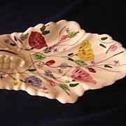 """Blue Ridge China """"Chintz"""" Pattern Leaf Dish"""