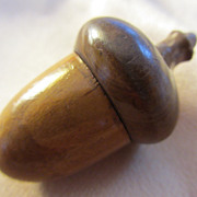 SOLD Wooden Acorn Thimble Case with Sterling Thimble