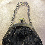 Vintage Black Brocade Doll Purse