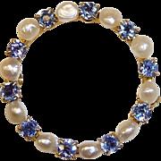 Vintage 10k Sapphire & Seed Pearl Circle Pin c1920s