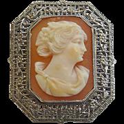 SALE PENDING Art Deco 10k White Gold Filigree Framed Shell Cameo Pin