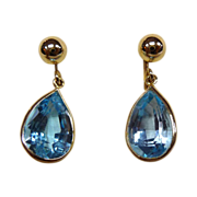 14k Blue Topaz Vintage Screwback Earrings