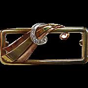 Art Deco/Retro 14k Yellow Rose White Gold Pin with Diamonds