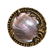 SOLD Art Nouveau Brass Button w Mother of Pearl - Red Tag Sale Item