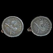New Zealand 1934 3 Pence Coin Screwback Earrings