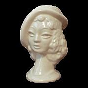 Woman Ivory USA Glazed Ceramic Head Vase c1940s