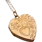 Engraved 14k Yellow Gold Heart Locket & Chain