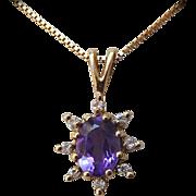 Amethyst Diamond 14k Starburst Pendant & Chain