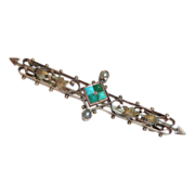 Victorian 14k Rose Gold Bar Pin Turquoise & Seed Pearls