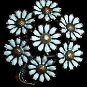 Victorian 14k Matte White Enamel Daisy Bouquet Pin