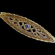 Art Deco 14k Yellow Gold Filigree Bar Pin w Sapphire