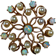 Victorian Revival Opal & Cultured Pearl Pendant/Brooch