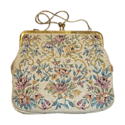 Floral Tapestry Purse with a Glint of Metallic Gold