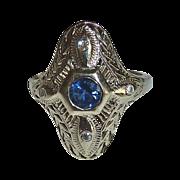 Art Deco 14k White Gold Engraved Filigree Sapphire Ring