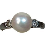 Single Cultured Pearl 14k White Gold Ring w Diamonds