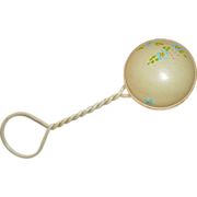 Celluloid Baby Rattle w Painted Flowers c 1920-30s