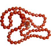 Natural Coral Bead Necklace 14k Carved Rose Clasp