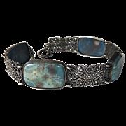 Blue Agate & 900 Silver Filigree Link Bracelet