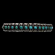 Native American Zuni Sterling Petit Point Turquoise Cuff Bracelet