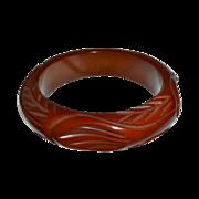 Art Deco Chunky Carved  Bakelite Bangle Bracelet