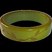 Bakelite Olive Green Carved Bangle Bracelet