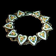 SALE Sterling Bracelet Enamel Hearts & Yellow Roses