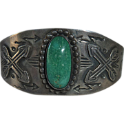 Native American Fred Harvey Sterling Turquoise Bracelet