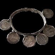 Victorian Sterling Coins Love Token Charm Bracelet
