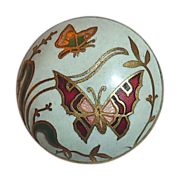 Art Deco Gilt Brass Enamel Button w Butterflies