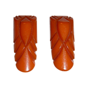 Art Deco Carved Tangerine Bakelite Pair of Clips