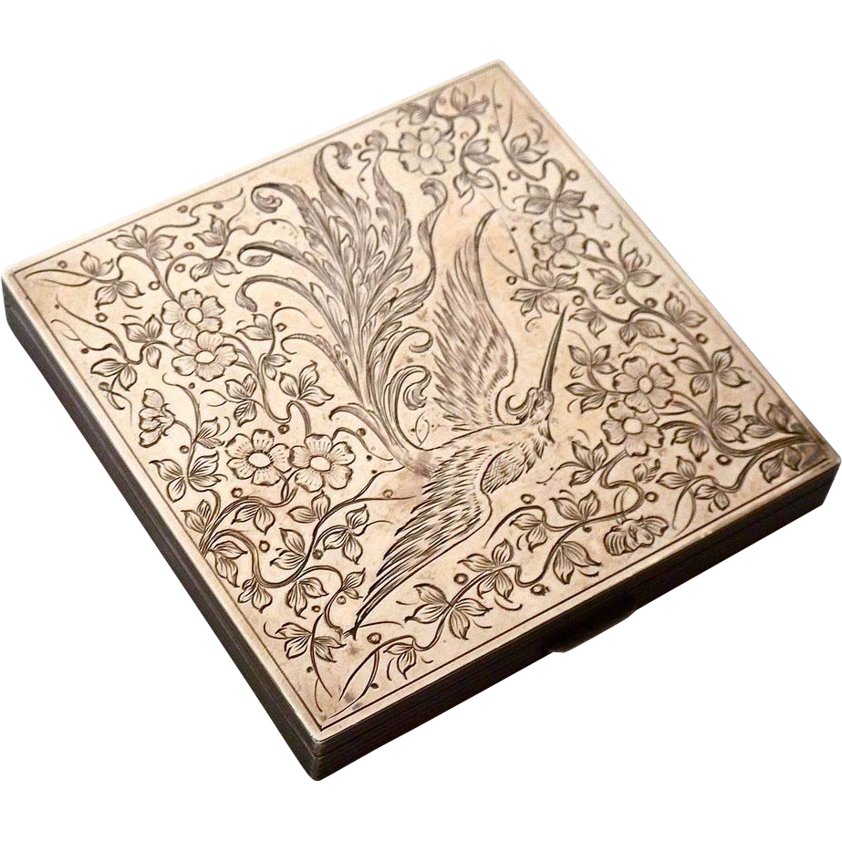 Aesthetic Sterling Amp Rose Gold Top Compact Engraved Bird