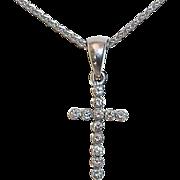 14k White Gold Sparkling Diamond Cross
