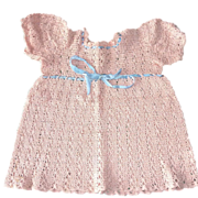 SOLD 1940-50s Hand Crochet Pink Cotton Child or Doll Dress