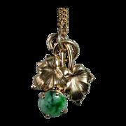 14k Yellow Gold Leafy Pendant & Chain w Jade
