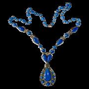 Art Deco Czech Brass & Blue Glass Pendant Necklace