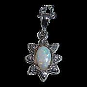 Opal & Diamond 14k White Gold Twinkling Star Pendant