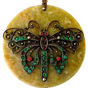 Art Deco Necklace Celluloid Pendant Brass & Rhinestone Butterfly