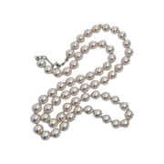 Glass Knotted Faux Pearl Necklace Lustrous Pink Blush