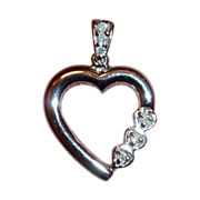SALE White Gold 10k Heart Pendant w Diamonds